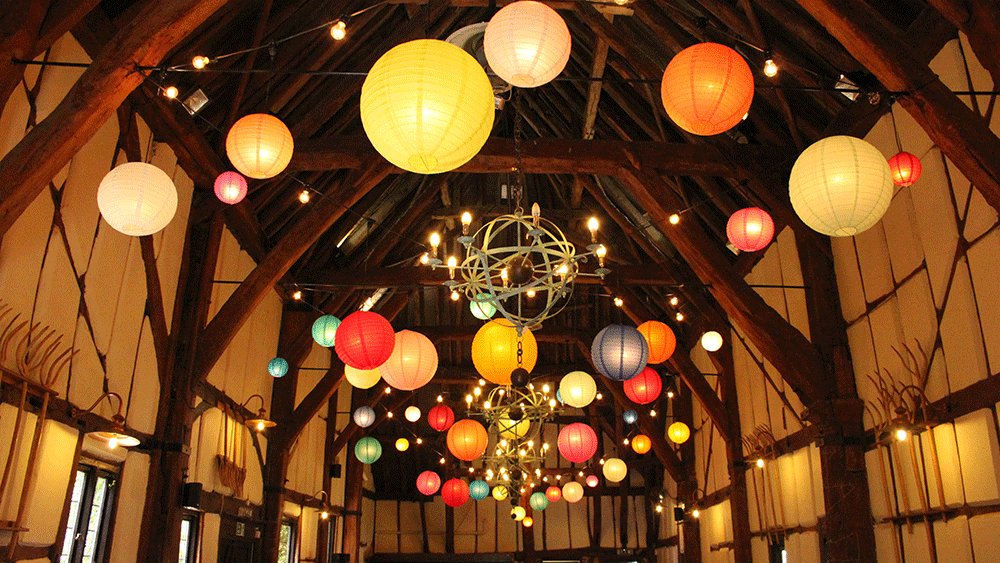 Use our coloured hanging lanterns to add to the quirkiness of unusual wedding venues
