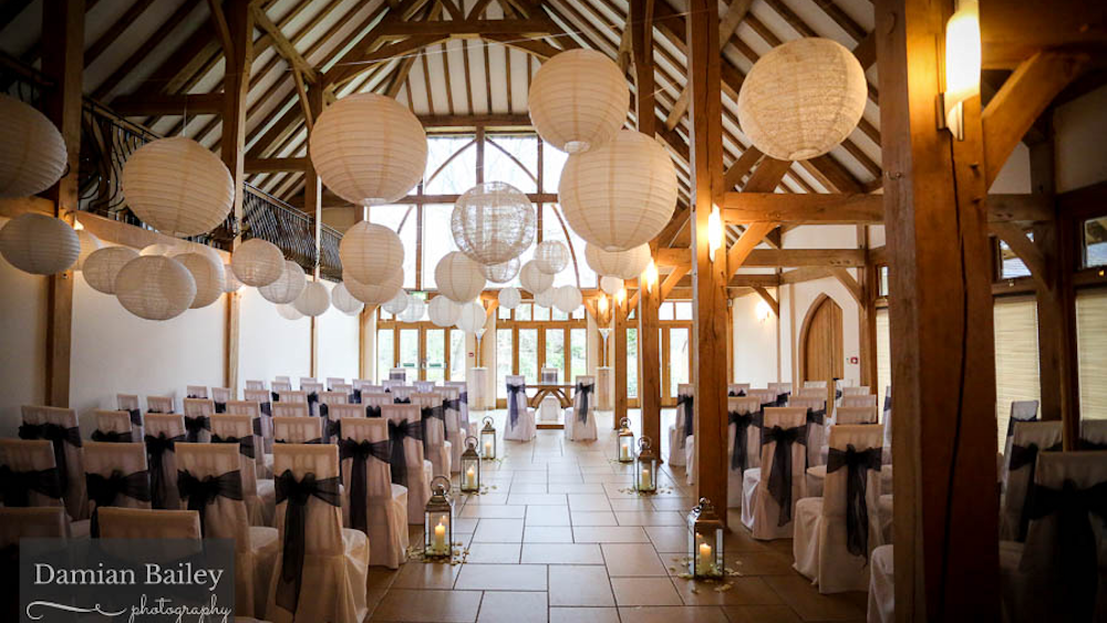 Rich coloured lanterns at Rivervale Barn, Guildford