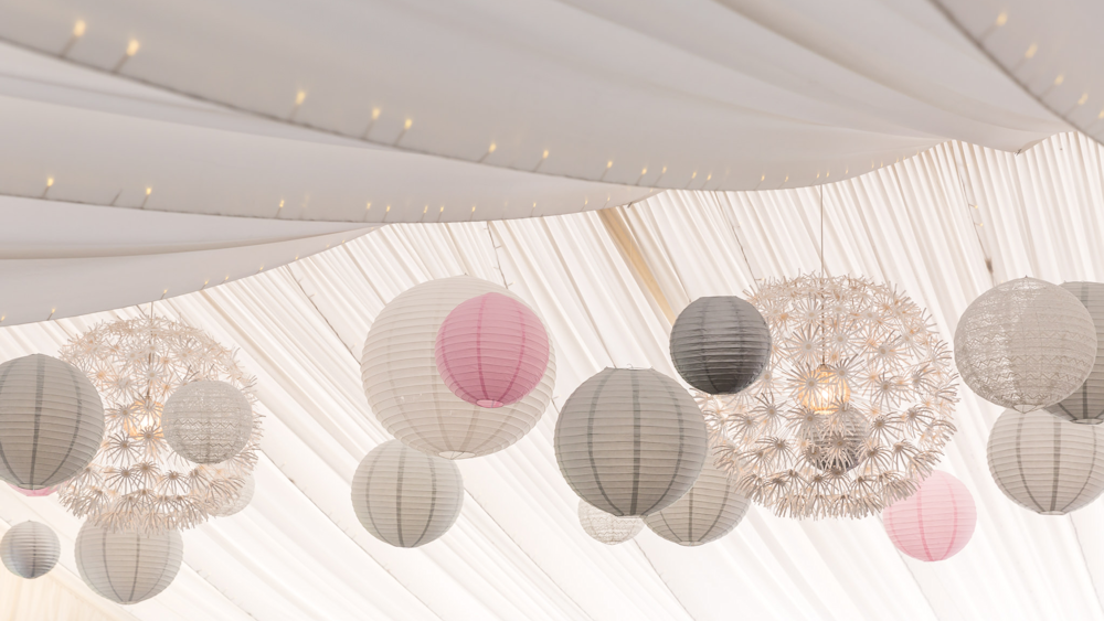 Pretty Pink and Sophisticated Grey Wedding Lanterns