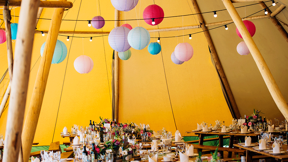 Essex Tipi Wedding with Paper Lanterns and Colin the Caterpillar