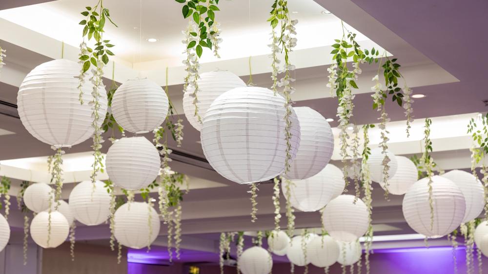 White Wedding Lanterns and Wisteria
