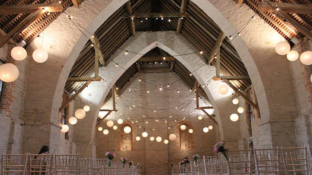 The Tithe Barn with Festoon Lighting and Large Lanterns