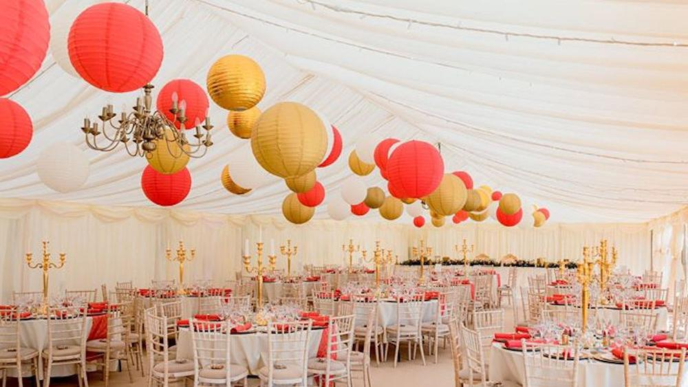 Red and Gold Paper Lanterns