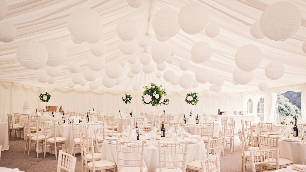 White Wedding Lanterns at Buckhurst Park