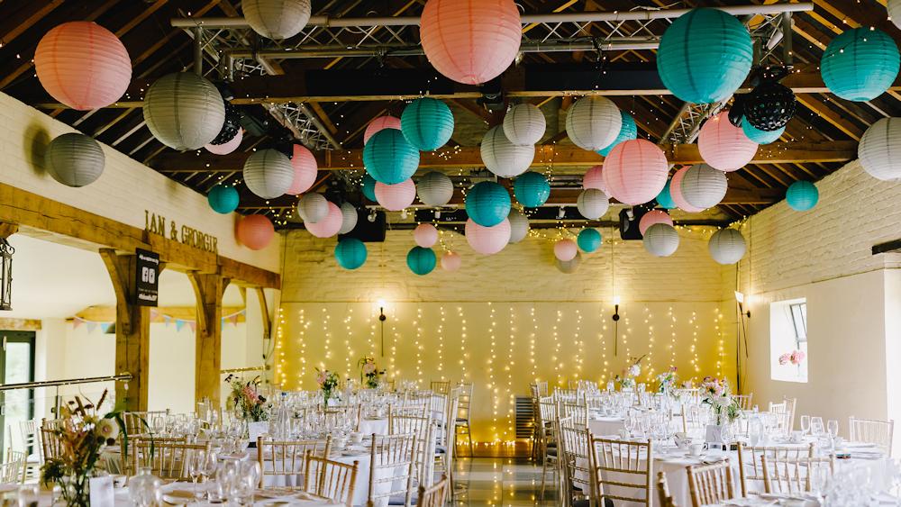Pastel Paper Lanterns at Hautbois Hall, Norfolk