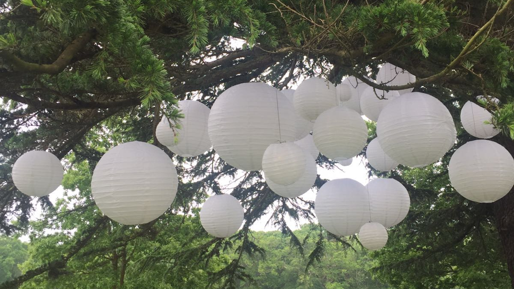 White Outdoor Lanterns Decorate New Forest Chill-out Space