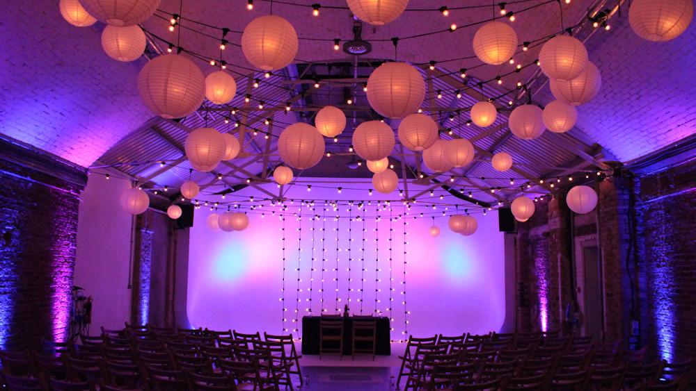 Ivory Lanterns and Festoon Lights drape Shoreditch Studios