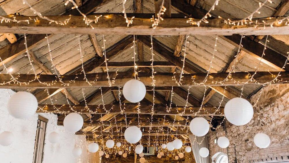 Cream Wedding Lanterns at Askham Hall
