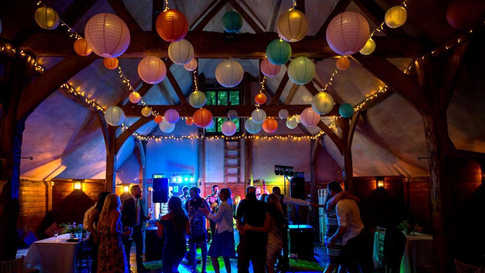 Pastel Hanging Lanterns at Lains Barn