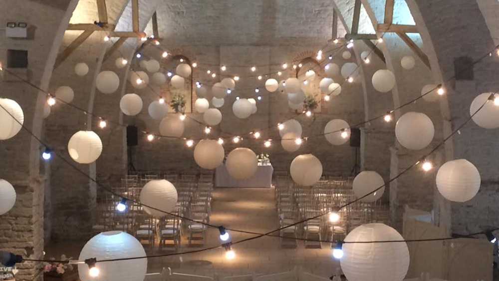 White Lanterns for a Winter Wedding at The Tithe Barn