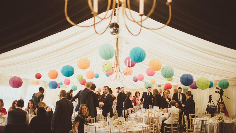 Colourful Marquee Wedding Lanterns