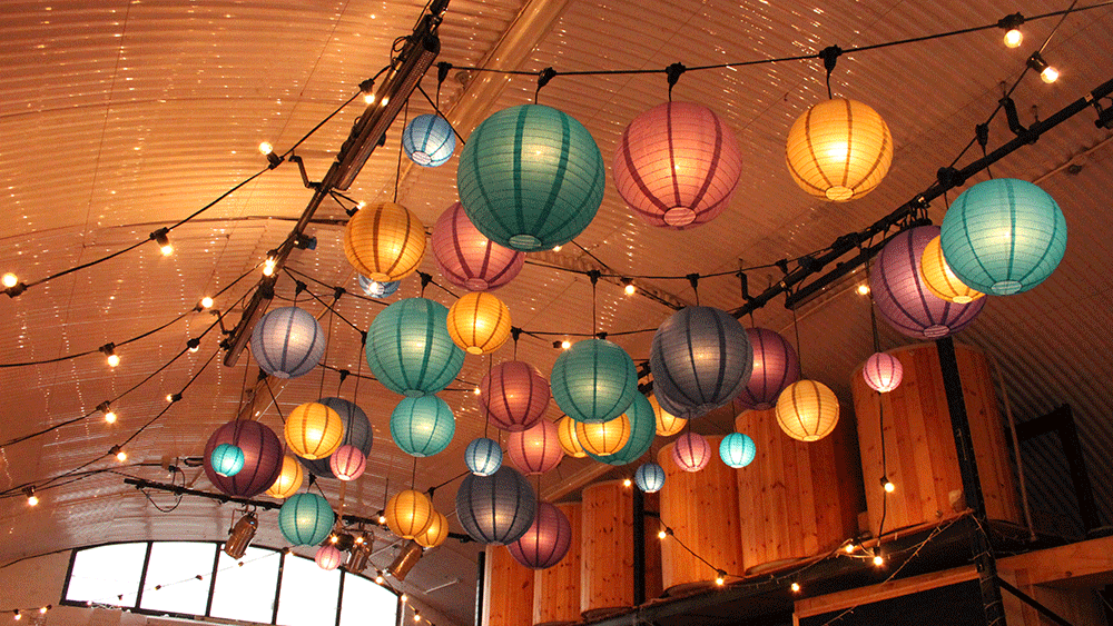 Peacock Paper Lanterns At London Fields Brewery
