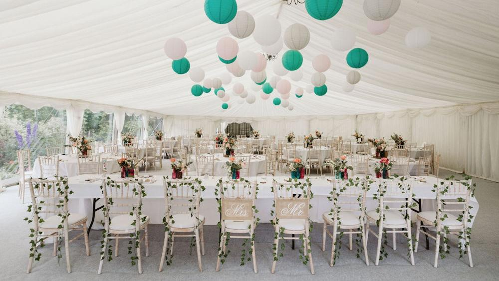 Teal and Pink Wedding Marquee Lanterns