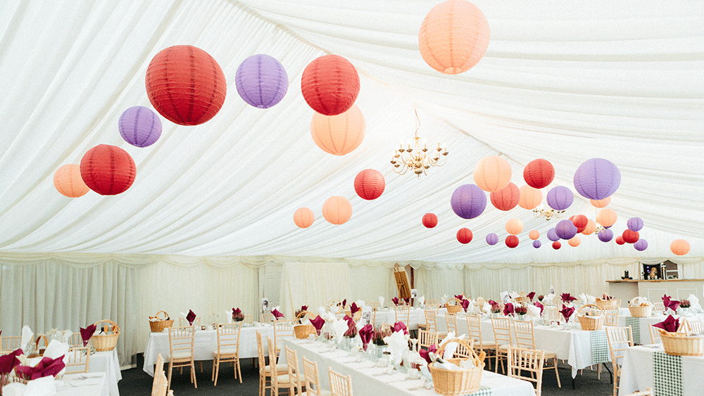 Warm & Rich Coloured Marquee Lanterns