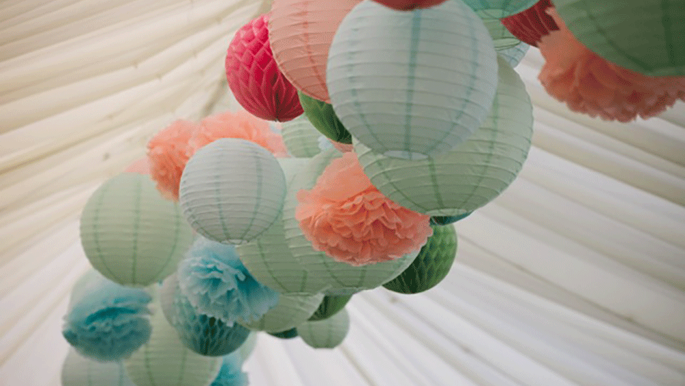 paper lanterns honeycomb balls and tissue pompoms