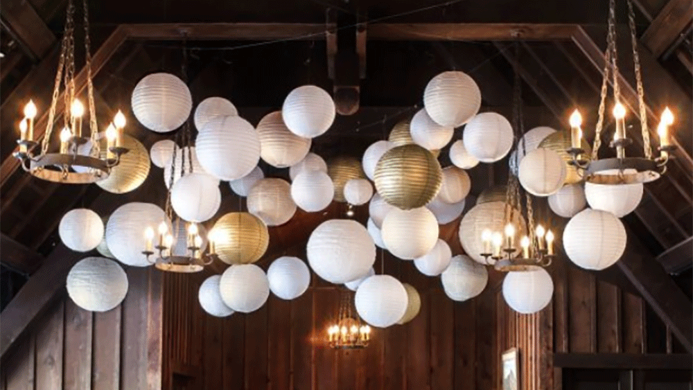 Gold and silver paper lantern autumnal theme - White hanging paper lanterns ...