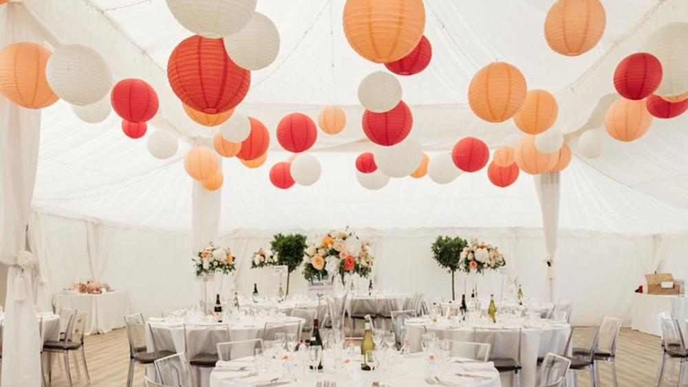 Coral and Peach Lanterns at Shilstone House