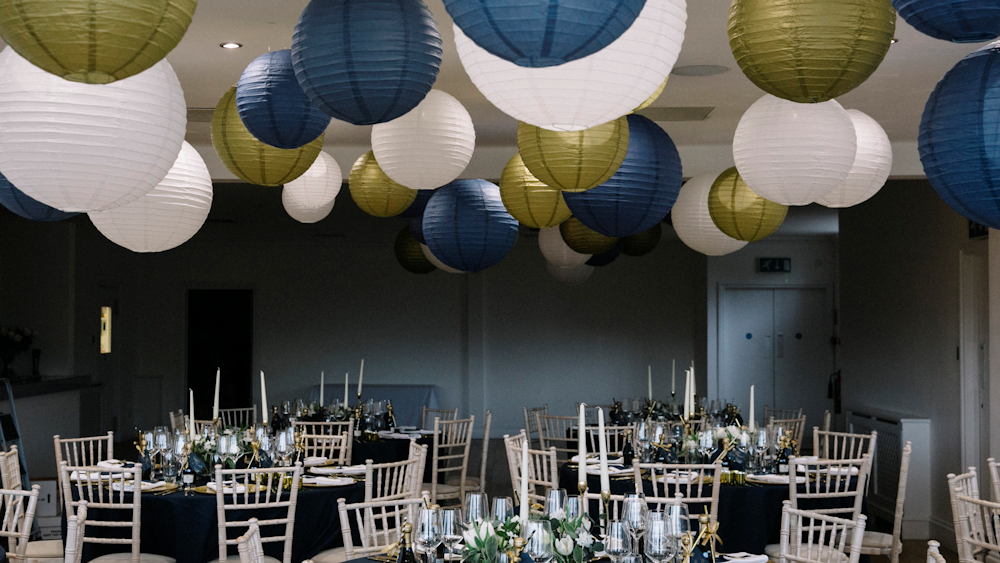 Navy and Gold NYE Wedding Lanterns