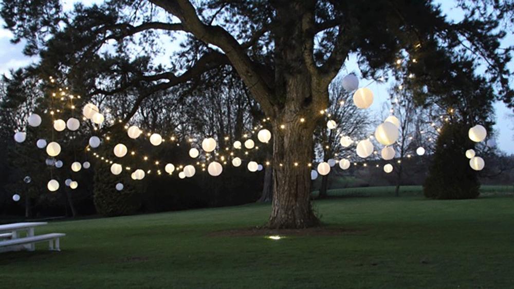 Festoon Lighting And Ivory Outdoor Lanterns