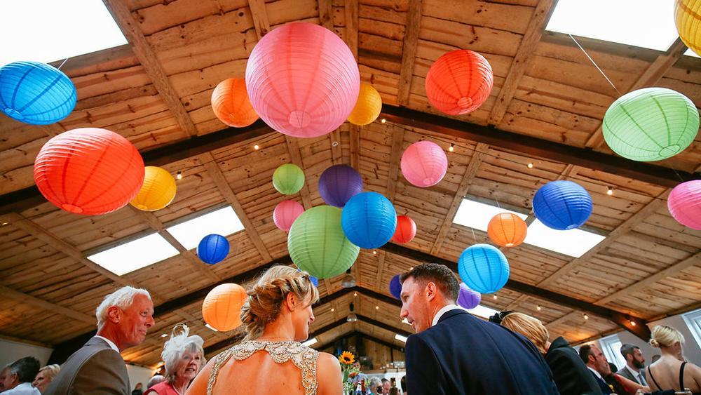 New wedding venue Owen House Barn decorated with Hanging Lanterns