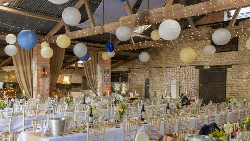 Navy Lanterns in a Rustic Barn
