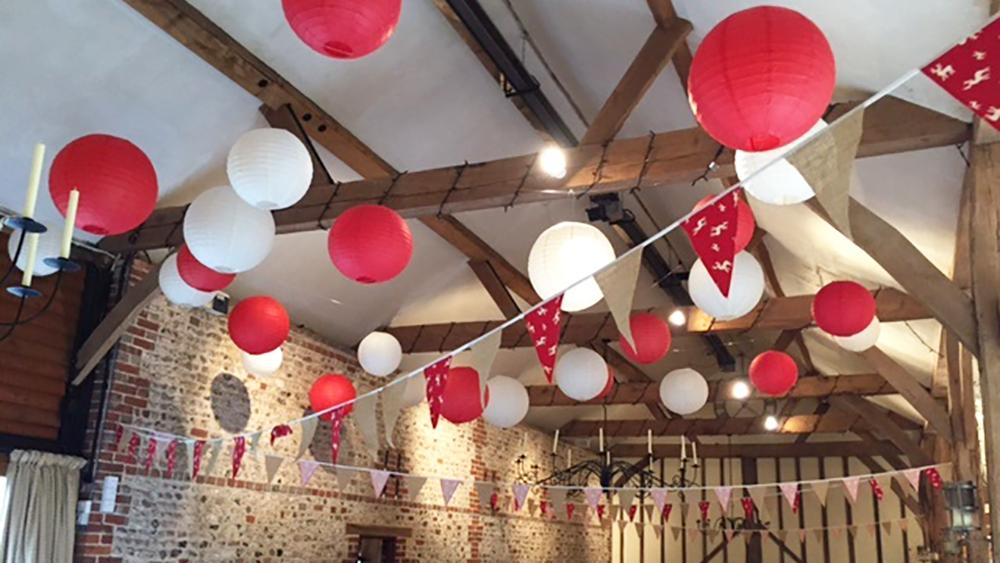 Sussex wedding lanterns at Upwaltham Barns