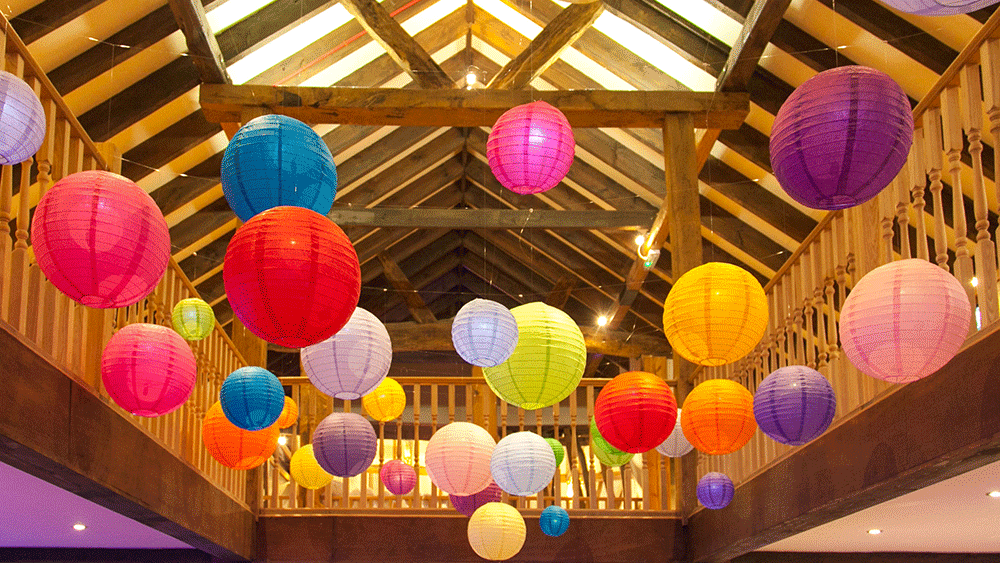 Brightly Coloured Paper Lanterns for a Party Atmosphere