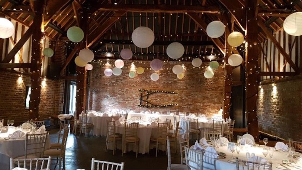 Pastel Paper Lanterns at Cooling Castle Barn