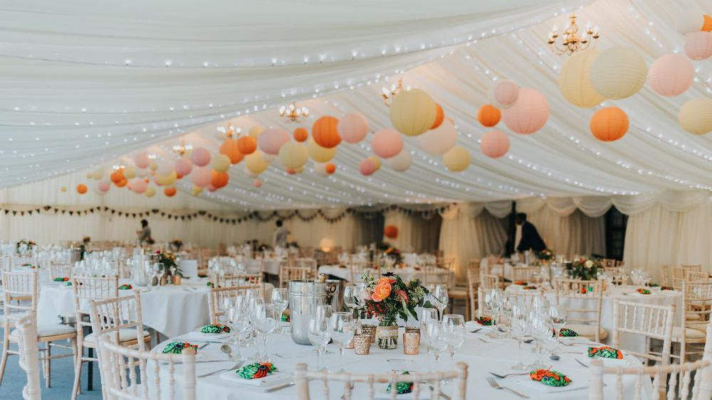 Pastel Hanging Lanterns at De Vere Selsdon Estate