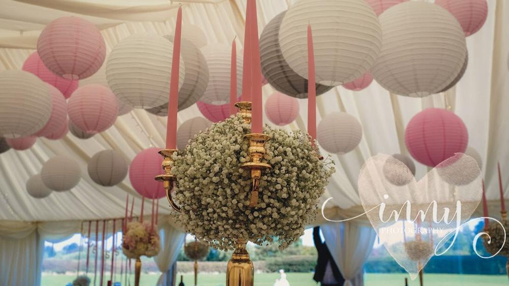 Pastel Pink and Dove Grey Hanging Lanterns