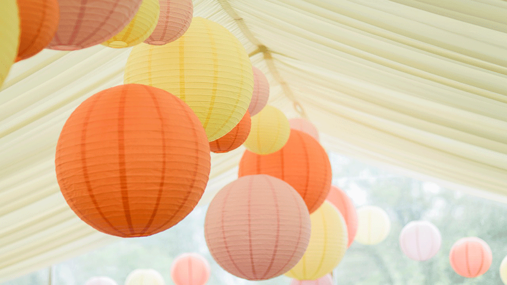 Geoff and Victorias Boho Wedding Lanterns at Rookwood House