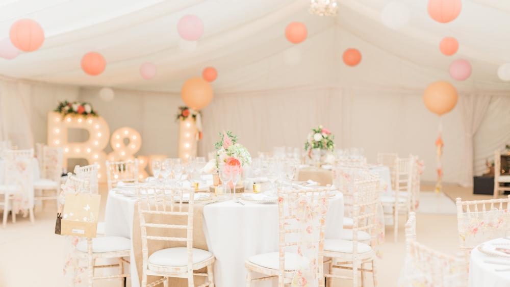 Soft peach and pink pastel wedding lanterns