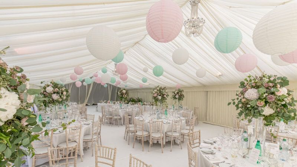 Pink and Mint Paper Lantern Canopy