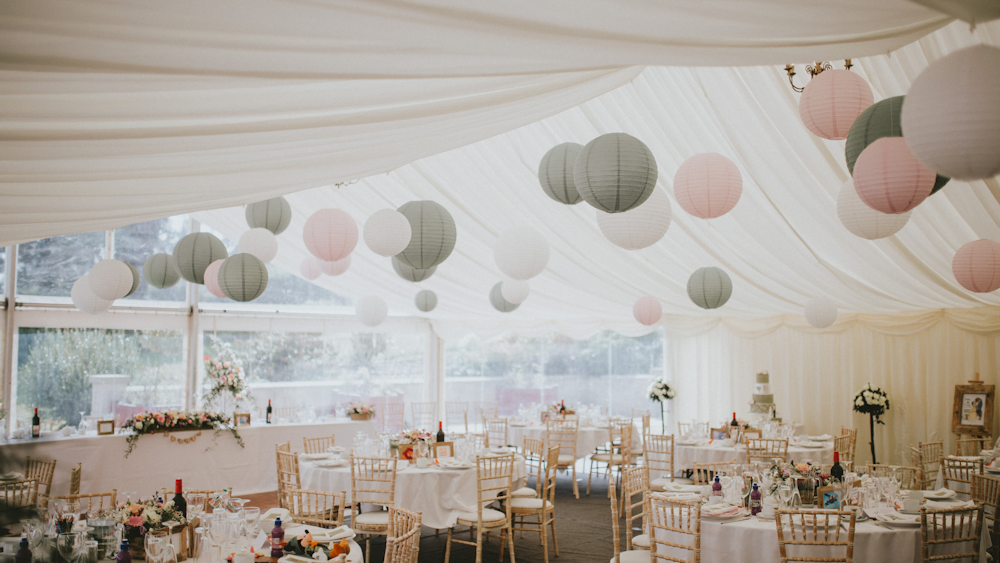 Julie and Craig's Sage and Pink Wedding Lanterns