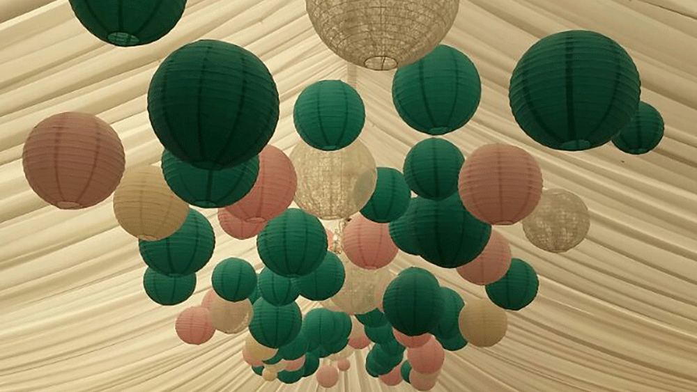 Yorkshire Wedding Stylists Sashes n Covers Decorate with Paper Lanterns
