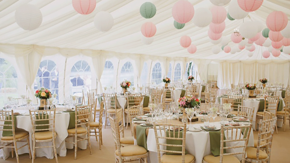 Jade and brians beautiful waterside marquee with pink and for Indoor marquee decoration