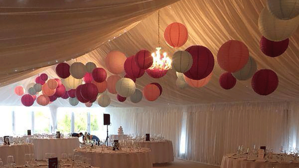 Pink And Blue Paper Lanterns Wow In This Wedding Marquee