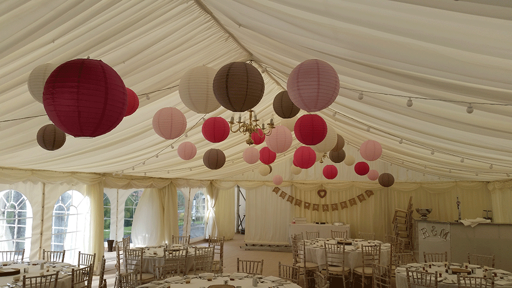 Latte and Pink Lanterns are Perfect for Rustic Wedding