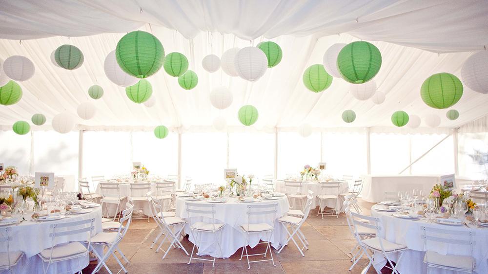 traditional green country wedding lanterns hanging