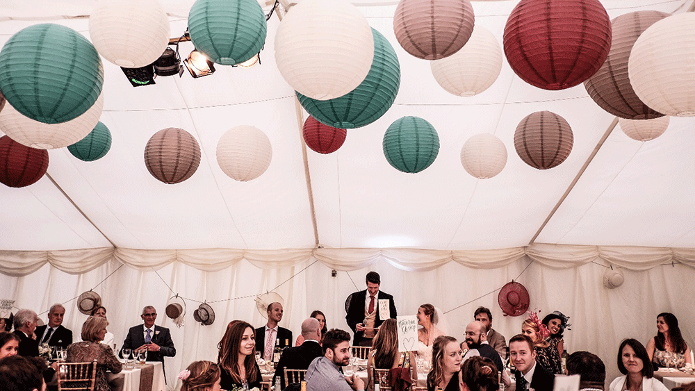 Jemima and Andyss Rainy Wedding with paper lanterns