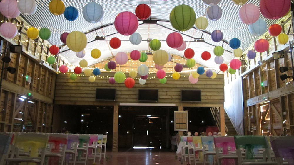 Vibrant Coloured Lanterns at Tulley's Farm Wedding