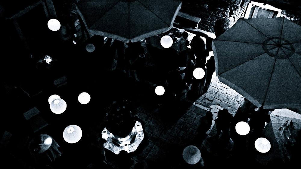 White Hanging Lanterns Adorn Venice Courtyard