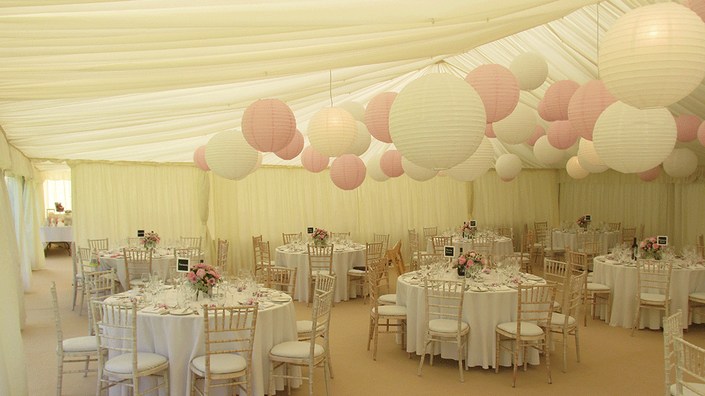 Beautiful Pink And White Paper Lantern Canopy