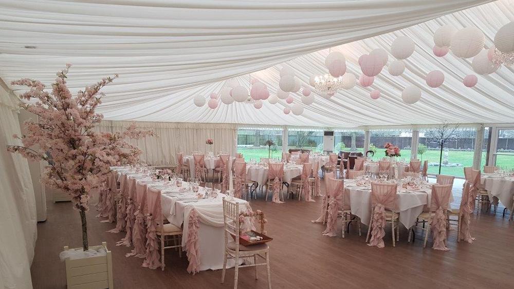 Pink and White Paper Wedding Lanterns