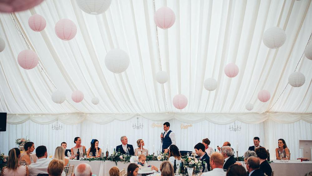 Pink, white and romantic lace lanterns