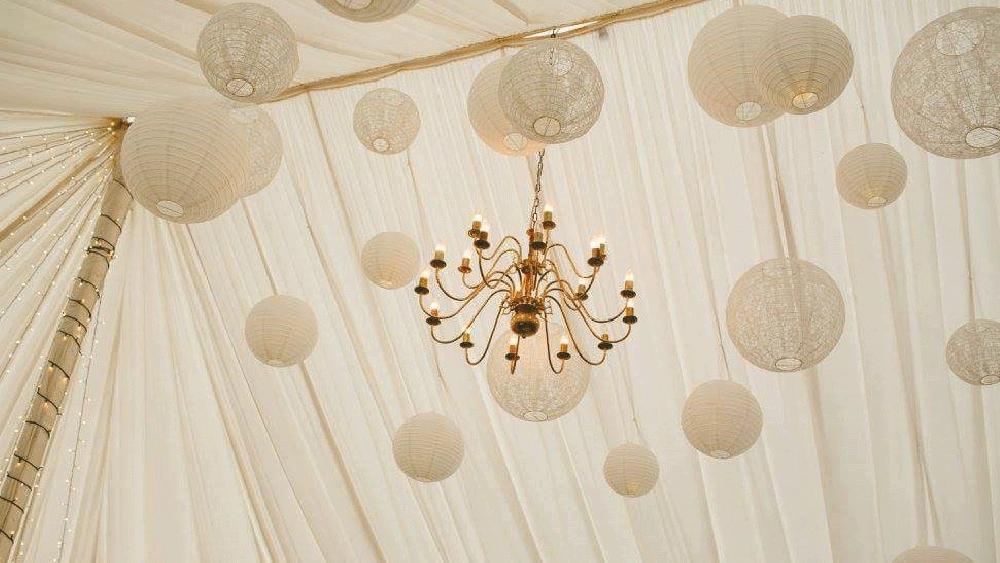 White and lace lanterns at Enterkine House, Scotland