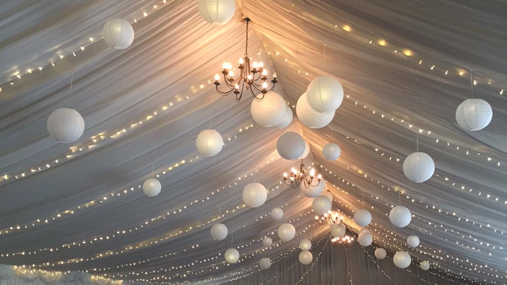 Fairy Lights and Paper Lanterns at Solsgirth House   Hanging Lantern Company