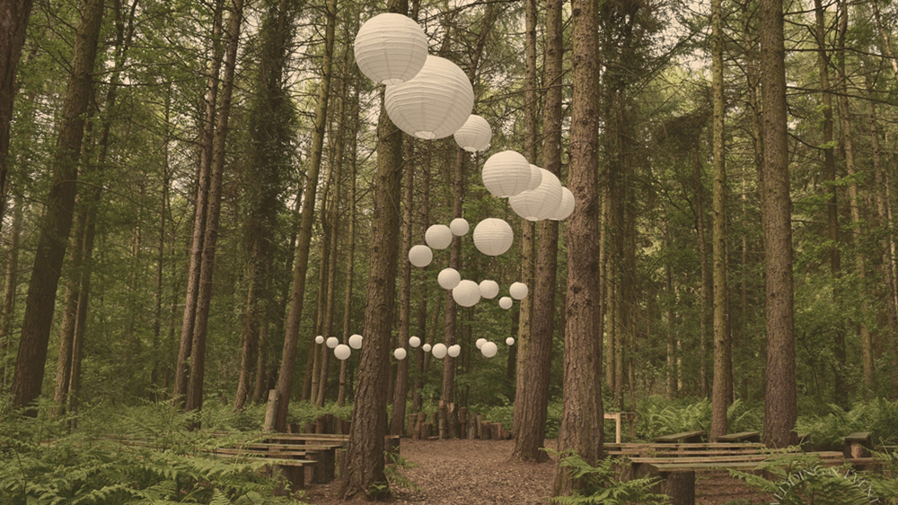 White Wedding Lanterns for a Rustic Wooded Ceremony