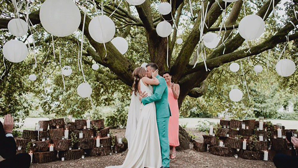 White Outdoor Lanterns for a Woodland Wedding Ceremony
