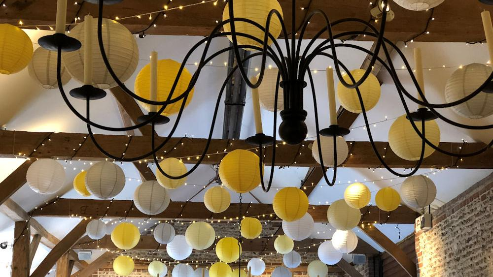 Colour Pop Occasions Hanging Lantern installation at Upwaltham Barns